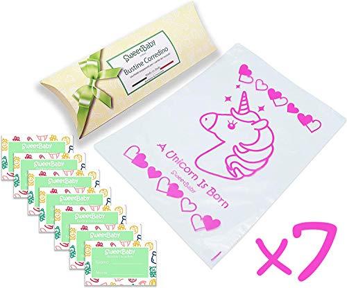 Sweetbaby 7 bustine corredino neonato - sacchetti per cambio vestiti nascita ospedale, 7pz buste trasparenti, chiusura con cursore ermetico, per borsa parto, idea regalo (unicorno)