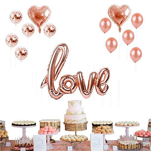 YeeStone Love Luftballons Folienballon 13 Stück Rose Gold Herz Ballon Hochzeit Luftballons - für Geburtstag Brautdusche Baby-Dusche Party Dekoration Valentinstag, Muttertag Dekoration Abschlussball