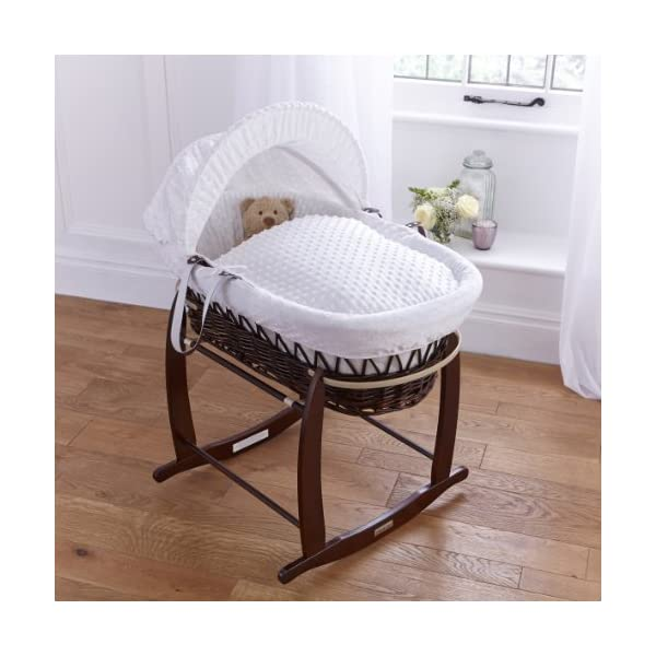 Dimple Dark Wicker Moses Basket - White  Super soft, dot Dimple Moses dressings are super soft next to your baby's skin. Comes complete with two carry handles, adjustable hood, 2.0 tog coverlet & mattress. The chic white Moses basket is made using sturdy, lightweight wicker. 3
