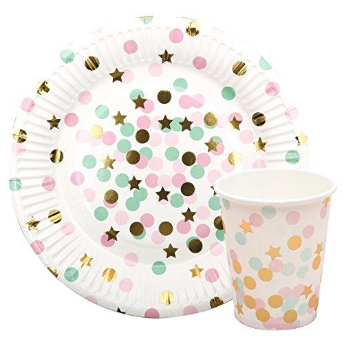 (Charming Einweg Geburtstag Parteien Polka Dot gefärbtes Papier Tassen Point Teller und Tassen rosa/blau)