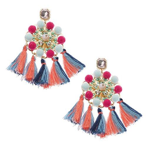 Bunte Fransen Ohrringe hängend für Frauen Vintage Retro, Statement Ohrringe Damen, Boho Schmuck, Lange Quasten Fransen Ohrringe