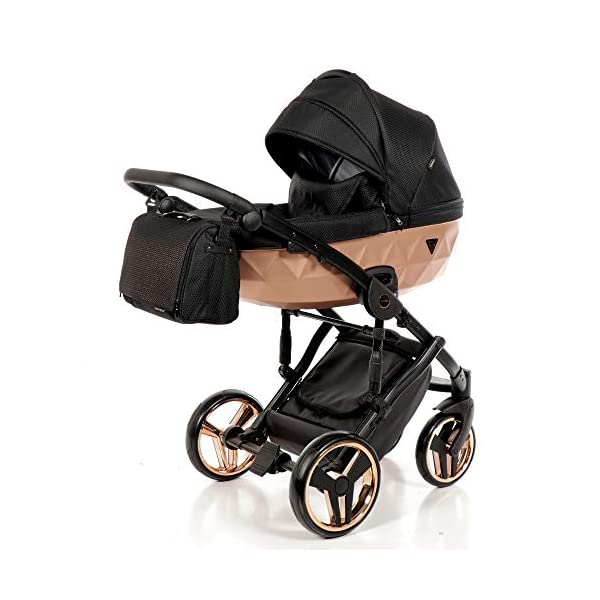 Combination Children's Pram Set JUNAMA Diamond Mirror Satin Baby Pram Buggy Pushchair + Accessories (02 Satin Schwarz - Kupfer, 3IN1) JUNAMA stable and lightweight aluminum frame construction with folding function 1-click system for easy assembly and disassembly Practical carrying handle for easy stowage of the folded frame maintenance-free gel wheels swiveling and lockable front wheels Six shock absorbers Central brake height adjustable push handle Automatic protection against folding the frame high-quality materials Push handle made of Ecco leather Upper materials are water-repellent Machining with silver ions and EcoTex technology waterproof and windproof, breathable high tear and abrasion resistance Covers are washable (100% cotton) Climate opening and window on the hood Hood is completely removable and can be used for the baby bath, as well as the sports seat folded up with wheels: 89 x 42 cm Total height of the stroller to hood top: 107 cm Lying height of the tub from the ground: 65 cm Variable height of the push handle: 77-107 cm Weight of the frame incl. Wheels: 10,2 kg External dimensions of baby carrier for newborns: 90 x 62 x 42 cm Weight of the baby bath attachment: 4.7 kg Length / width / height with hood of sport version: 92 cm x 44 cm x 62 cm Weight of sports seat: 5.5 kg 1