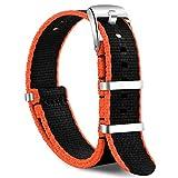 OLLREAR Nylon Correa Reloj Lienzo Correa Relojes - 15 Colors & 2 Sizes - 20mm, 22mm (22mm, Black&Orange)
