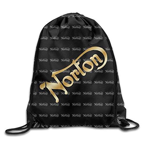 vcbndfcjnd Norton Motorcycle Gold Logo White Drawstring Backpack Bag -