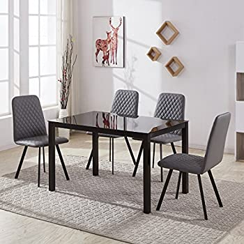 Glass Dining Table And 4 Vintage Design PU Leather Chairs Set Kitchen Room Tempered Black Metal Legs Grey