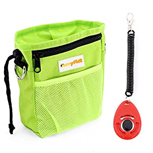 Chien Treat Pouch avec distributeur de sacs poubelle, Furryfido Pochette de dressage de chien avec ceinture Extra long et plus de Bandoulière, avoir des friandises, jouets, clés, etc. (Une formation Clicker)