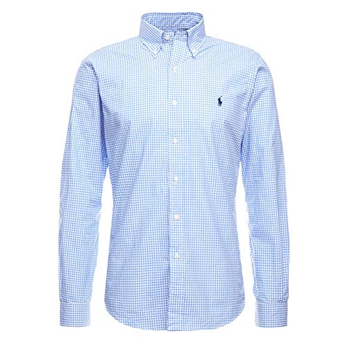Polo ralph lauren long sleeve sport shirt camicia uomo slim fit mod: sl bd ppc sp-710705269 (m, blue)