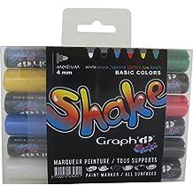Graph'it Shake GI43450 Lot de 6 Marqueurs peinture à encre pigmentée Pointe Ronde Medium Basic