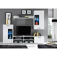 AVANTI TRENDSTORE - Kalli - Parete da soggiorno in laminato bianco opaco, Illuminazione LED compresa, Dimensioni: LAP 230x185x38 cm