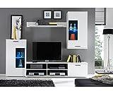 AVANTI TRENDSTORE KALLI - Parete da soggiorno con illuminazione LED in bianco d'imitazione, ca. LAP 230x180x40 cm