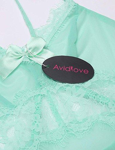 Avidlove Damen Lingerie Dessous Set Spitzen Reizwäsche Babydoll Transparent Negligee mit G-String Nachtkleid Mintgrün