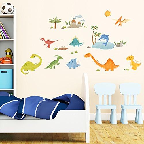 Decowall DW-1505 Dinosaurios Vinilo Pegatinas Decorativas Adhesiva Pared Dormitorio Salón Guardería Habitación Infantiles Niños Bebés