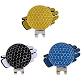 Prettyia 3 Pieces Golf Glove Stainless Steel Golf Ball Marker with Magnetic Hat Clip