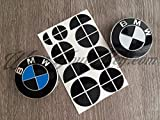 schwarz-glänzend BMW Halb Abzeichen Emblem Überzug Aufkleber Haube Felgen für alle BMW