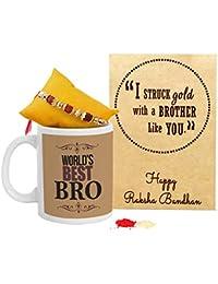 TIED RIBBONS Rakhi Gift Combo (Designer Rakhi, Printed Coffee Mug, Rakshabandhan Special Card, Roli Chawal)