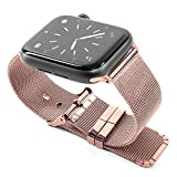 DLX Pulsera para Apple Watch, 42 mm o 38 mm, Repuesto para iWatch Series 4 Serie 3 Serie 2 Serie 1, Negro, Oro, Rosa o Plata