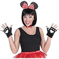 Juego de disfraces disfraz de ratón 3 tlg. Minnie Mouse Disney traje conjunto de vestuario ratones de peluche con piezas ringolo disfraces de carnaval para Mujer Fiesta de peluche