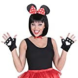 Mauskostüm Set Maus Kostüm 3 tlg. Minnie Mouse Kostümset Disney Mäusekostüm Tierkostüm Mäuschen Mottoparty Verkleidungsset Karnevalskostüme Damen Tier