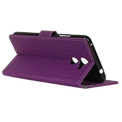 YHUISEN Vodafone Smart V8 Case, Weave Pattern Magnetische Verschluss PU Leder Brieftasche Flip Folio Case mit Card Slot Stand Schutzhülle für Vodafone Smart V8 ( Color : Purple ) Purple
