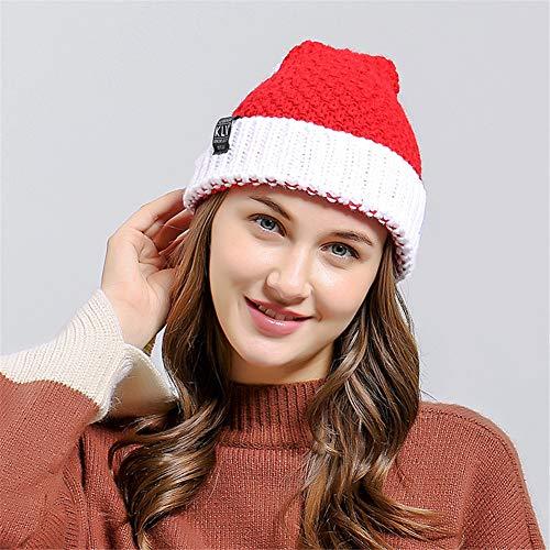 ut-Weihnachtskappe Nikolausmütze Weihnachtsmann-Hut-warme Strickmütze-Beanie mit Wollball-elastischem Hut-Hauptparty-Dekor ()