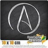 KIWISTAR Atheismus - Atheist 10 x 10 cm IN 15 FARBEN - Neon + Chrom! Sticker Aufkleber