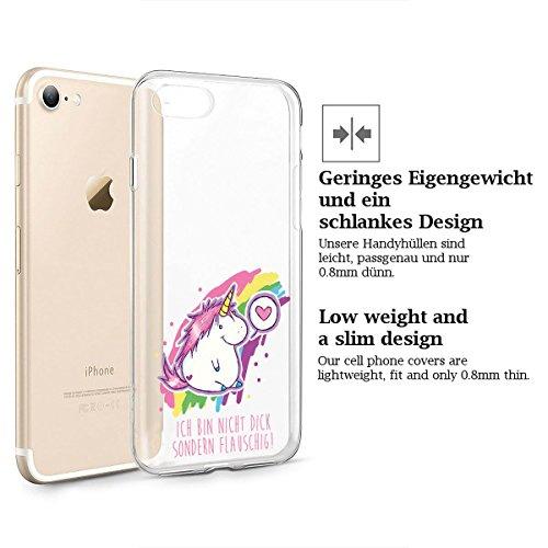 finoo   iPhone 6 / 6S Weiche flexible Silikon-Handy-Hülle   Transparente TPU Cover Schale mit Motiv   Tasche Case Etui mit Ultra Slim Rundum-schutz   Einhorn klein 1 Einhorn Herz 1
