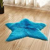 Trayosin Weiches Kunstfell Stern Form Teppich Badteppich Plüsch Kinderteppich für Schlafzimmer Wohnzimmer (Dunkelblau)