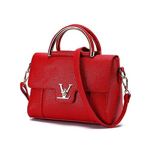 Dame Retro Handtaschen Umhängetasche Portable Messenger Bag,Pink Black