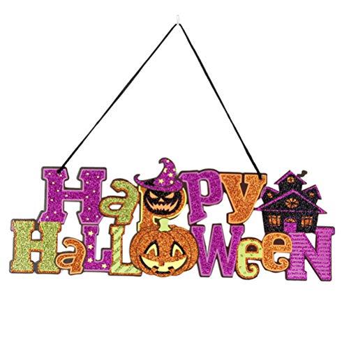 BESTOYARD Happy Halloween Dekoration Requisiten Glitter hängende Anhänger Ornamente Ghost Festival Szene Layout Requisiten (Halloween Happy Glitzer-zeichen)