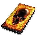 Hülle Galaxy S7 Hülle Samsung S7 G930F Schutzhülle Handyhülle Flip Cover Case Samsung Galaxy S7 G930F (OM1061 Totenkopf Skull Flammen Gelb Gold)