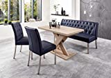 Dreams4Home Sitzbankgruppe 'Dios IV' - Set, Essgruppe, Tischgruppe, 2 Stühle, Esstisch mit Einlegeplatte L/B/H:120(158,5)x80x75cm, 1 Bank L/B/H:158x66x89cm, modern, Esstisch mit Kreuzgestell, Eiche Sonoma sägerau Dekor, Bezug dunkelblau