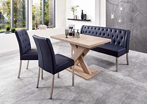 Dreams4Home Sitzbankgruppe 'Dios IV' - Set, Essgruppe, Tischgruppe, 2 Stühle, Esstisch mit Einlegeplatte L/B/H:120(158,5)x80x75cm, 1 Bank L/B/H:158x66x89cm, modern, Esstisch mit Kreuzgestell, Eiche Sonoma sägerau Dekor, Bezug dunkelblau -