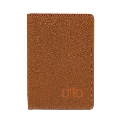 e1a5c6d65 Cartera de Cuero con Plegado Doble OTTO- Tarjetero para Tarjetas de Crédito  con Estilo Pasaporte