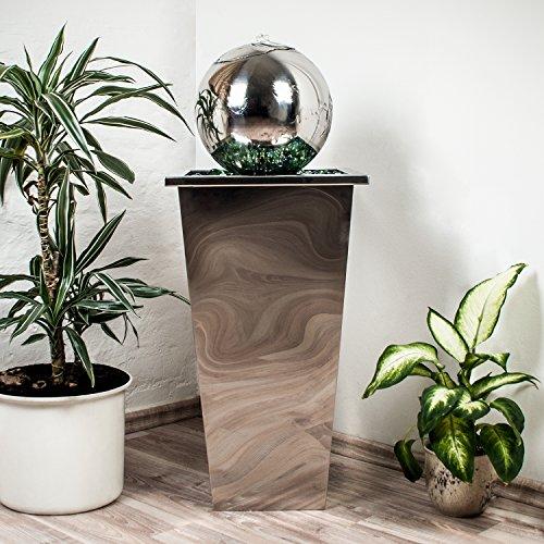 KÖHKO® Springbrunnen mit LED-Beleuchtung in eckigen Edelstahlbecken hochglanzpoliert 21016 Gartenbrunnen aus Edelstahl