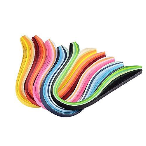 Pandahall 1200pcs 6colores tiras de papel para filigranas para bricolaje, color mezclado, 390x 3mm, papel, Mixed Gradual Color, 390x3mm