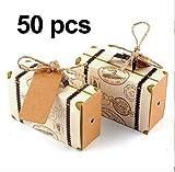 Awtlife 50pezzi scatole di carta kraft naturale cuscino per la festa nuziale vintage Candy