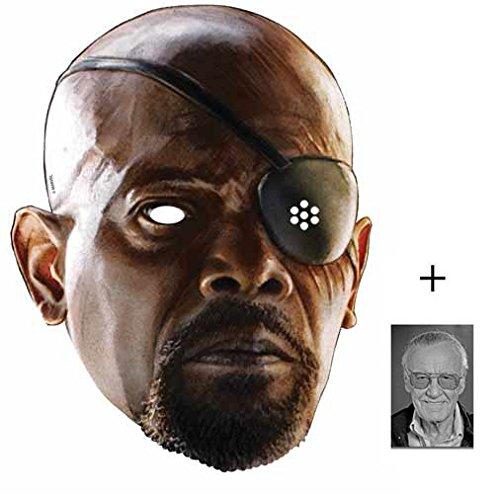 Nick Fury (Samuel L Jackson) Marvel Avengers Age of Ultron Single Karte Partei Gesichtsmasken (Maske) Enthält 6X4 (15X10Cm) starfoto