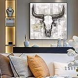 DQPCC Kunstdruck auf Leinwand Kuh Schädel Tier Wandkunst Leinwand Schwarzweiß Pop Art Tiere Leinwandbilder An Der Wand Bilder Wohnzimmer (60x90cm)