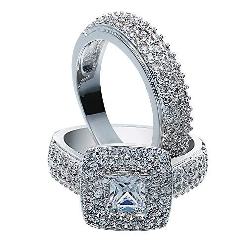 Bigood Bague Ensemble Femme Argent 925 Cristal Fiançailles Mariage Alliance Zircon Elégant Périmètre 59.5mm