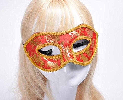 Keyi le Leicht und einfach zu Tragen Halloween Maskerade Parteien Flanell Blunt Lace Maske (rot)