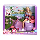 Doll Playset Barbie Pink Passport Travel Doll with Purple Scooter