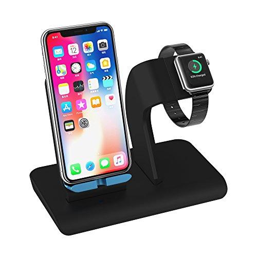Apple Watch Ständer Wireless Charger Qi Ladegerät X-DODD Ladestation für iPhone X/8/8plus samsung s9 s8 und und alle anderen Qi-fähigen Geräte Handy Schwarz Ständer Dock Halterung für Apple iWatch Series
