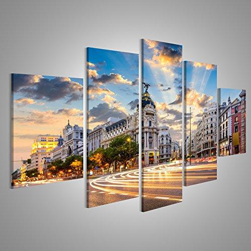 Cuadro Cuadros Madrid, España, ciudad en la calle de Alcalá y la Gran Vía Impresión sobre lienzo - Formato Grande - Cuadros modernos