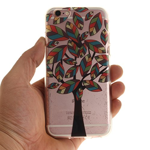 iPhone 6S Hülle,iPhone 6 Hülle,BONROY® iPhone 6 6S Silikon Hülle [Kratzfeste, Scratch-Resistant], Malerei Muster Transparent Weichem Silikon Schutzhülle Hülle Case Cover Etui Ultra Slim Skin TPU Bumpe Bunte Baum