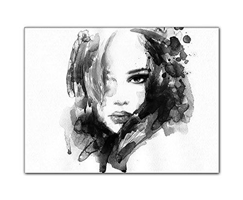 DEINEBILDER24 - Wandbild XXL Abstrakt geheimnisvolle Schönheit schwarz-weiß 40 x 60 cm auf Leinwand und Keilrahmen. Beste Qualität, handgefertigt in Deutschland!