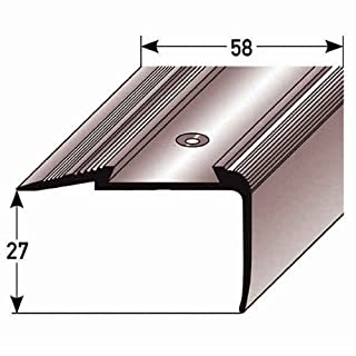 Stair Nosing Profile 20 m (20 x 1 m) 23 x 58 mm Aluminium, Special Enamel, Phosphorescent Ridges, Drilled, Dark Grey