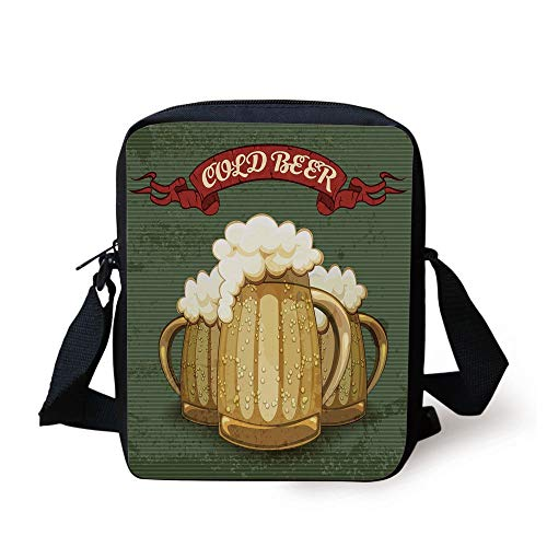 Man Cave Decor,Retro Style Poster for Cold Beer Foamy Chilled Mugs Lager Ale Alcohol Drink,Multicolor Print Kids Crossbody Messenger Bag Purse Ale Mug