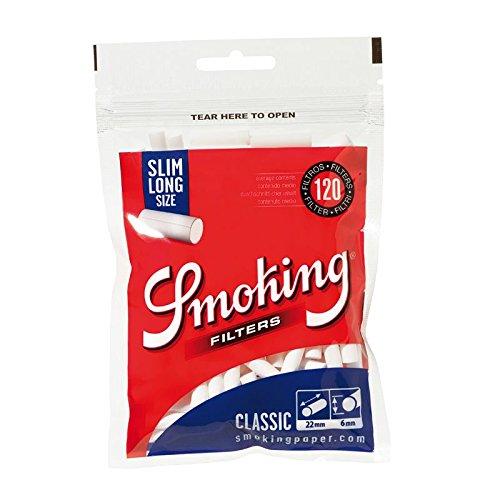 120x Filtres en Coton pour Feuilles à Rouler Smoking Slim Long (22x6mm)