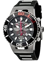Torgoen T24306 - Reloj de caballero de cuarzo, correa de caucho color negro