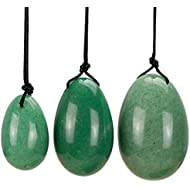 Yiwa Kegel Balls 3Pcs Natural Green Aventurine Jade Egg for Kegel Exercise Pelvic Floor Muscle Vaginal Exerciser Drilled Yoni Egg Ben Wa Ball